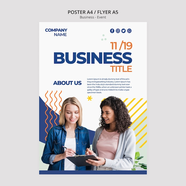 Template concept for corporate poster Free Psd