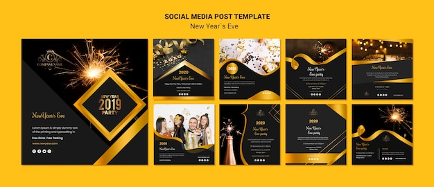 Template concept for new year eve social media post Free Psd
