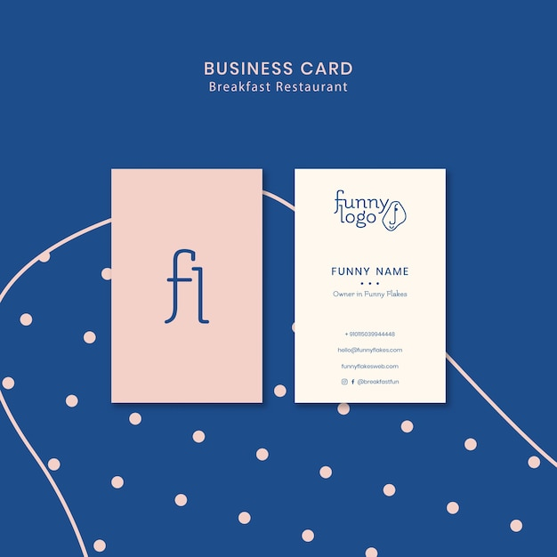 Template concept for restaurant business card Free Psd