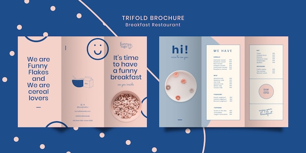 Template concept for restaurant trifold brochure Free Psd