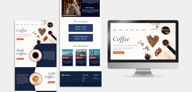 Template design with coffee business concept Free Psd