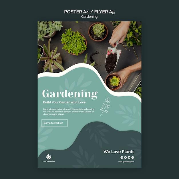 Шаблон для плаката с садоводством Бесплатные Psd