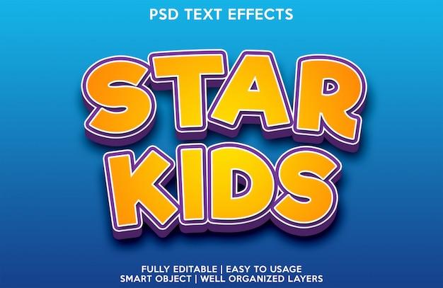 Шаблон для шрифта с текстовым эффектом звезды дети Premium Psd