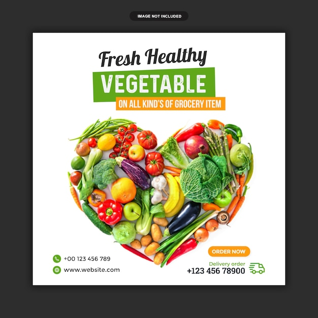 Template of fresh food sale for social media post Premium Psd