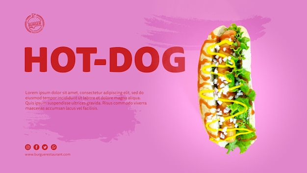 Template hot dog advertisement with photo Free Psd