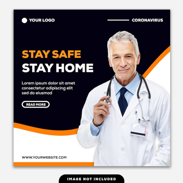 Шаблон instagram пост баннер stay safe stay home coronavirus Premium Psd
