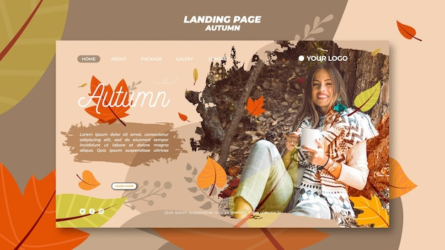 Template for landing page with welcoming the autumnal season Free Psd