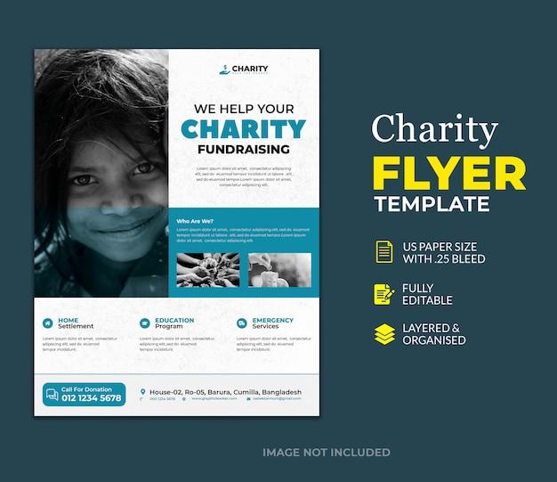 Шаблон пожертвования благотворительного флаера Premium Psd