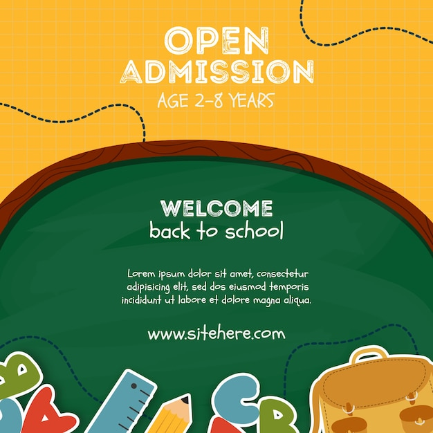 Template for open admission at elementary school Free Psd