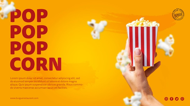 Template popcorn advertisement with photo Free Psd