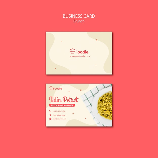 Template for restaurant business card Free Psd