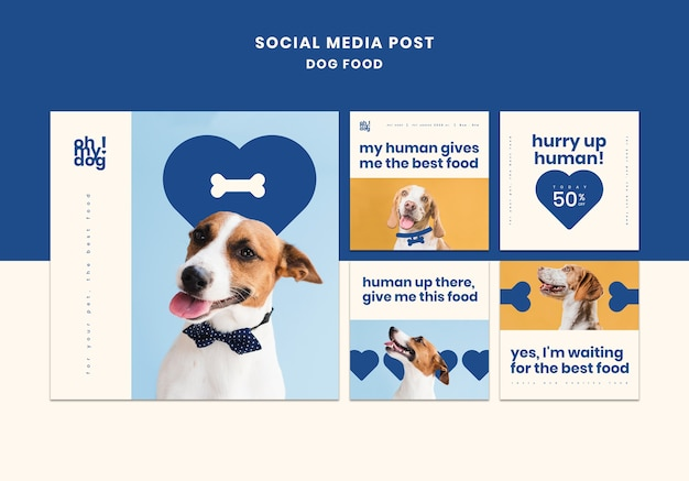Template for social media post with dog food Free Psd
