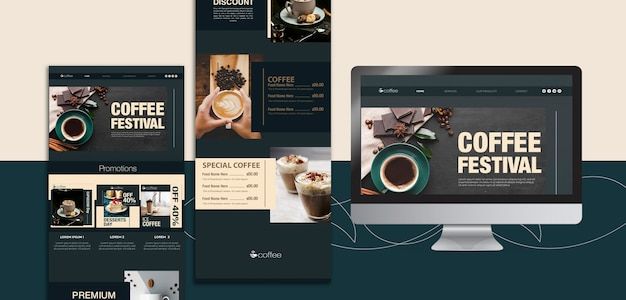 Template theme with coffee Free Psd