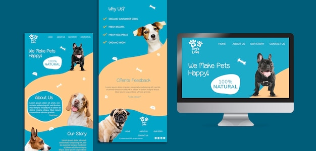 Template with dog food Free Psd
