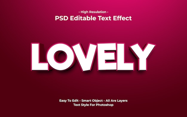 Templete of lovely text effect Premium Psd