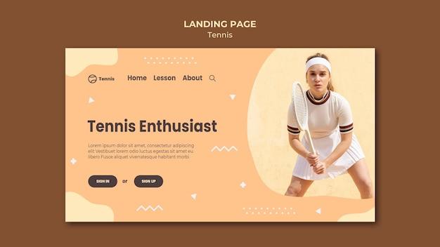 テニスコンセプトのランディングページ 無料 Psd