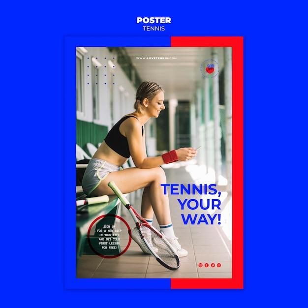 테니스 컨셉 포스터 템플릿 무료 PSD 파일