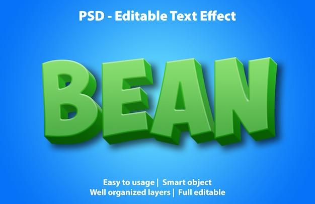 テキスト効果beanテンプレート Premium Psd