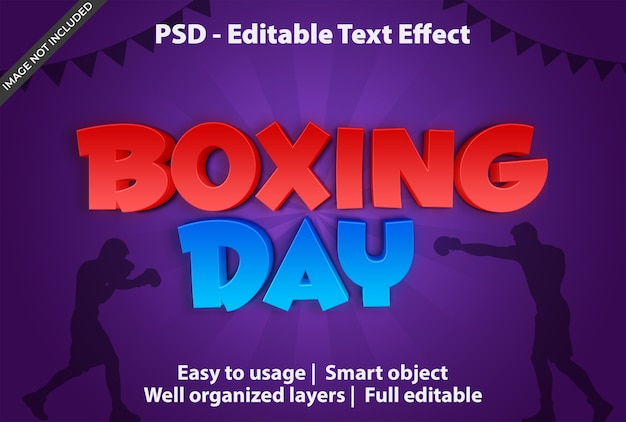 Text effect boxing day template Premium Psd