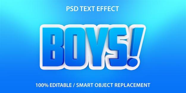 텍스트 효과 소년 템플릿 프리미엄 PSD 파일