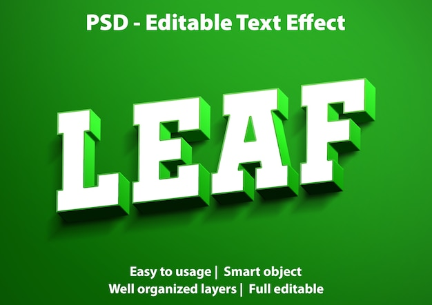 テキスト効果リーフテンプレート Premium Psd