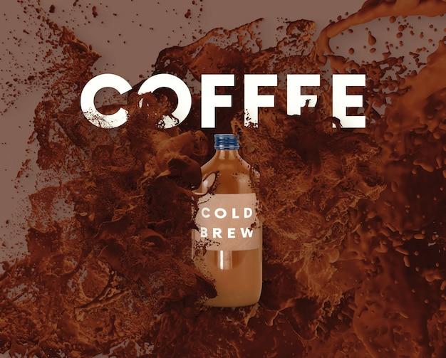 Текст буквы в всплеск жидкости - кофе 2 Premium Psd