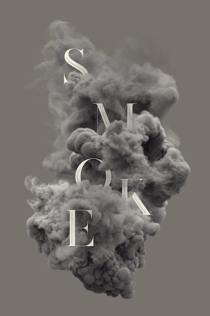 Text letters in smoke Premium Psd