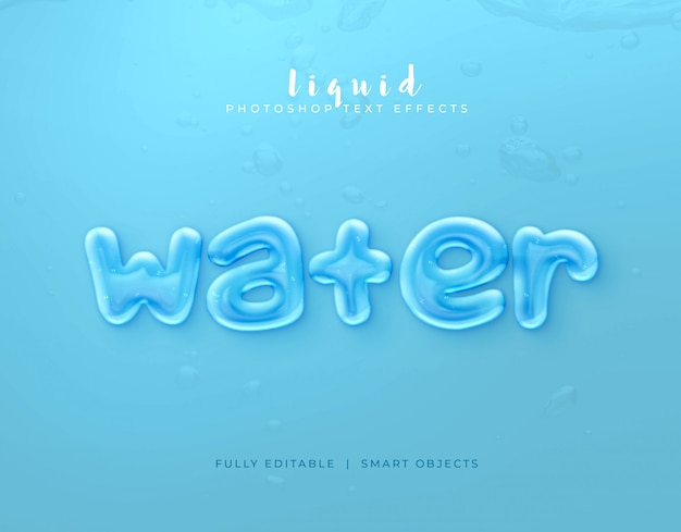 Text style effect water Premium Psd