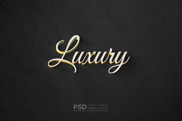 Text style effect with gold plated white text template Premium Psd