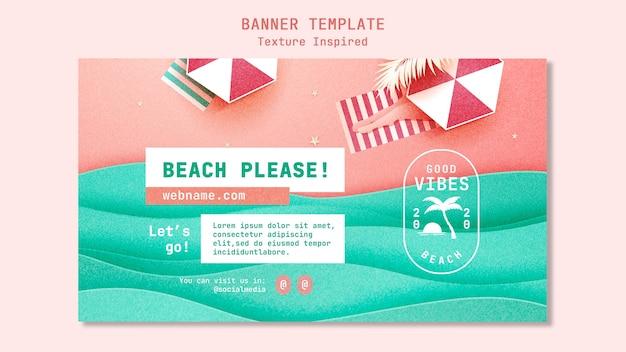 Textured beach banner template Free Psd