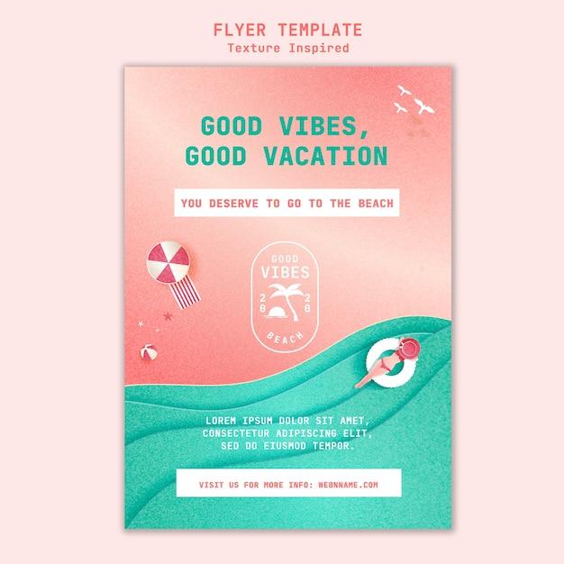 Textured beach flyer template Free Psd