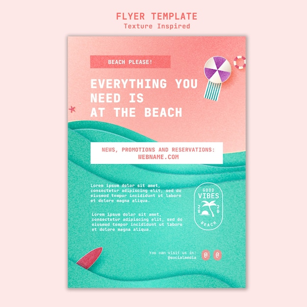 Textured beach flyer template Free Psd