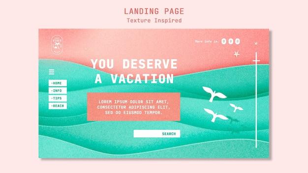 Textured beach landing page template Premium Psd
