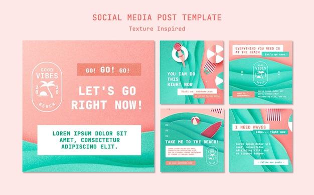 Textured beach social media posts Free Psd