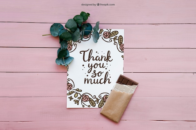 Thank you card and chocolate Free Psd