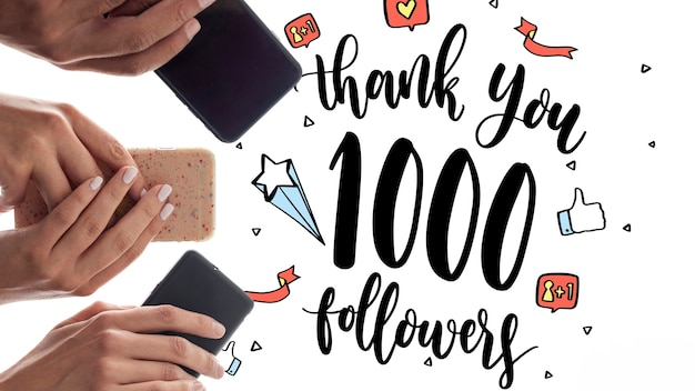 Thank you followers with phones held in hands Free Psd