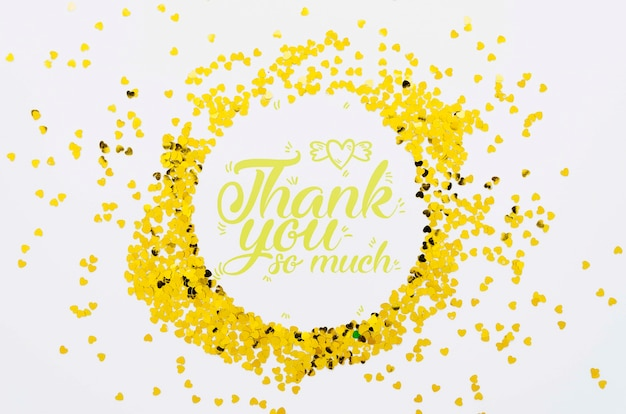 Thank you so much text confetti frame shape Free Psd