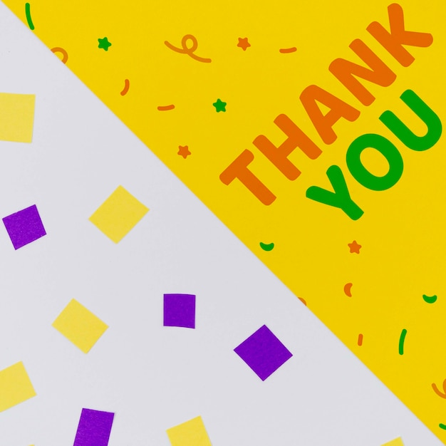 Thank you with confetti and abstract geometric shapes Free Psd