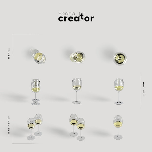 Thanksgiving arrangement with white wine in glasses Free Psd