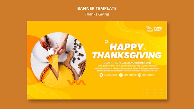 Thanksgiving concept banner template Free Psd