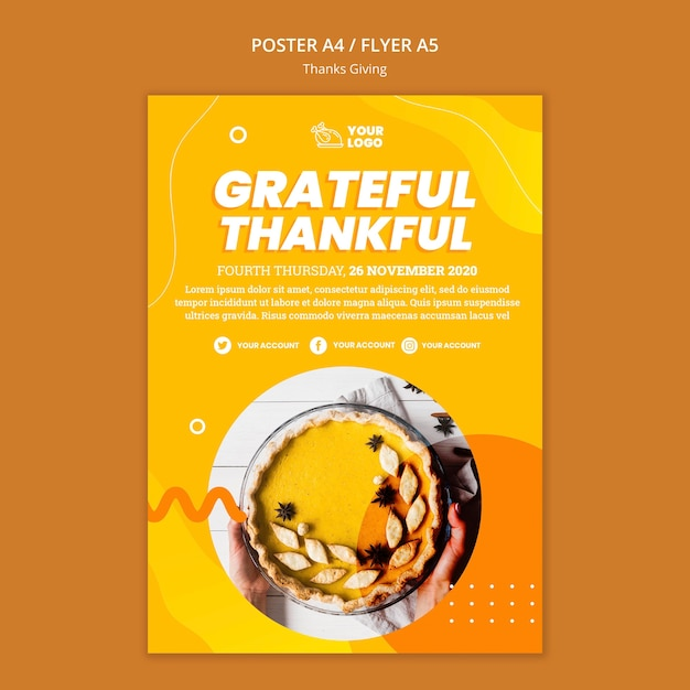 Thanksgiving concept flyer template Free Psd