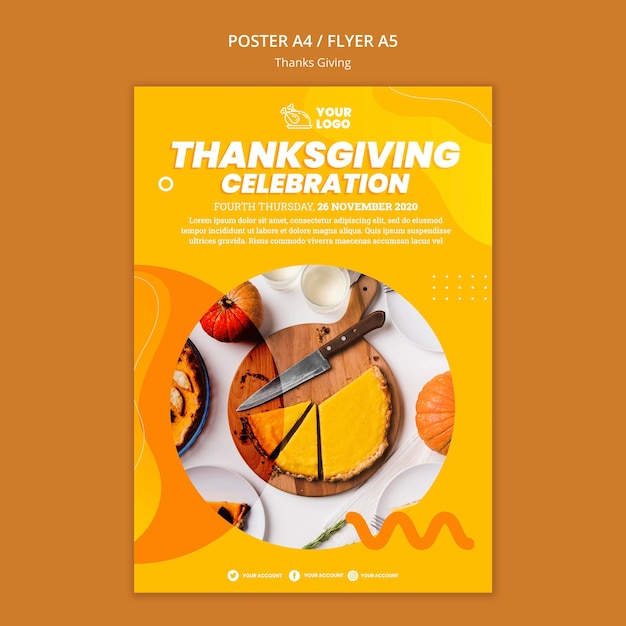 Thanksgiving concept poster template Free Psd