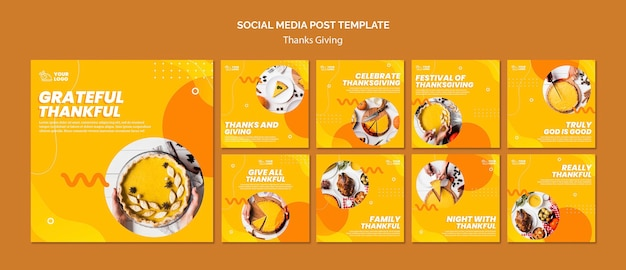 Thanksgiving concept social media post template Premium Psd