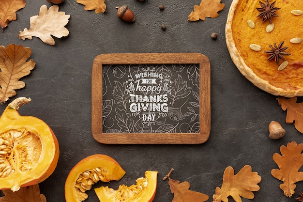 Thanksgiving frame with autumn leaves from trees Free Psd