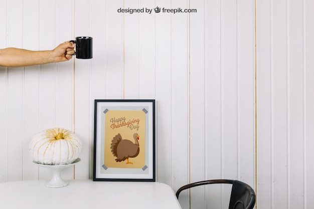 Thanksgiving mockup with frame and mug Free Psd