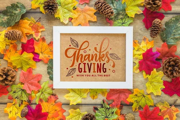 Thanksgiving mockup with frame Free Psd