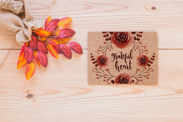 Thanksgiving mockup with greeting card Free Psd