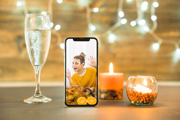 Thanksgiving mockup with smartphone Free Psd
