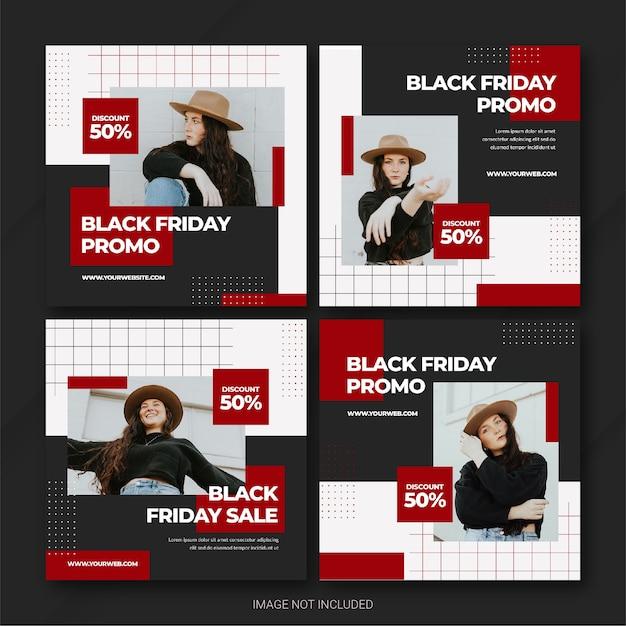 블랙 프라이데이 캠페인 인스 타 그램 포스트 번들 템플릿 프리미엄 PSD 파일