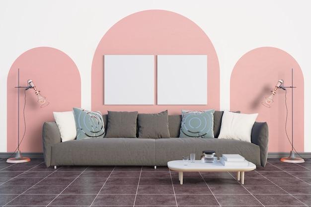 柔らかいピンクの色調の部屋 Premium Psd